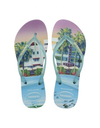 HAVAIANAS - INFRADITO DONNA - SLIM PAISAGE - 4132614-0334 - WHITE/LIGHT GREEN