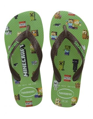 HAVAIANAS - INFRADITO JUNIOR - MINECRAFT - 4145125-2715 - LEAF GREEN