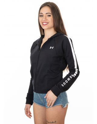 UNDER ARMOUR - FELPA DONNA - RIVAL FLEECE FULL ZIP - 1317856-001 - BLACK