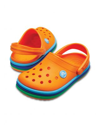 CROCS - SABOT JR UNISEX - CROCBAND™ RAINBOW BAND KIDS - 205205-80O - BLAZING ORANGE
