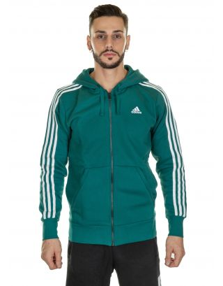 ADIDAS - FELPA UOMO - ESSENTIAL 3-STRIPES FULL ZIP - DN8800 - NOBLE GREEN/WHITE