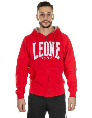 LEONE - FELPA - MAN FLEECE HOODIE ZIPPED - LSM565-50 - RED