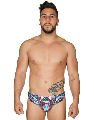 JUST CAVALLI - COSTUME SLIP/BRIEF - E6B210090-995 - BLUE/RED