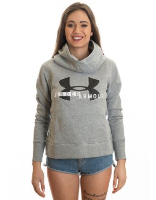 UNDER ARMOUR - FELPA DONNA - RIVAL FLEECE LOGO - 1321185-035 - STEEL GREY