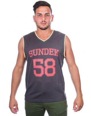 SUNDEK - CANOTTA - TIMMY-V NECK SLEEVELESS - M951TTP1300-325 - MIDNIGHT